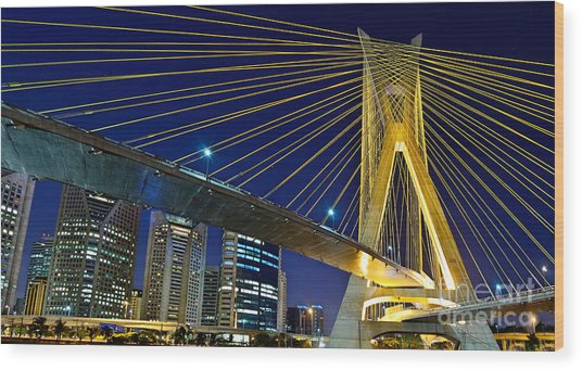 Sao Paulo's Iconic Cable-stayed Bridge  Wood Print