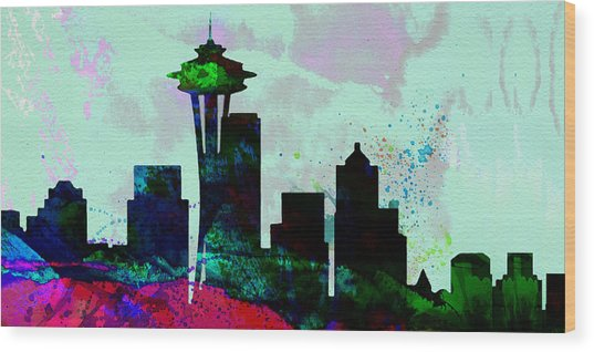 Seattle City Skyline Wood Print