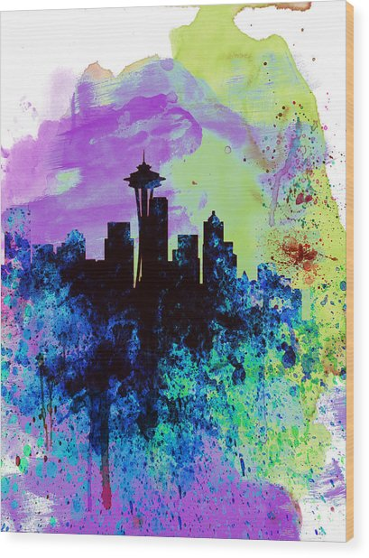 Seattle Watercolor Skyline 1 Wood Print