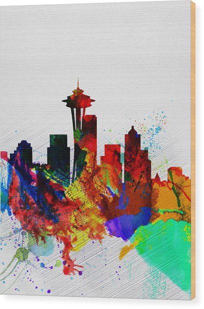 Seattle Watercolor Skyline 2 Wood Print