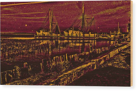 Stary Night Time At The Docks Wood Print