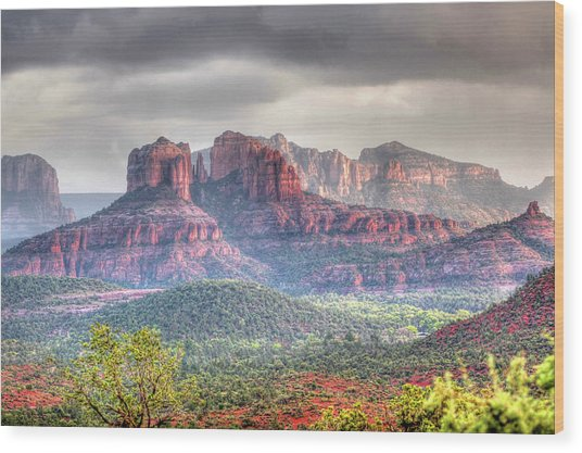 Storm Clouds Red Rocks Wood Print