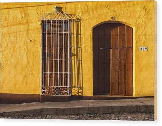 Sunny Yellow Wall Wood Print