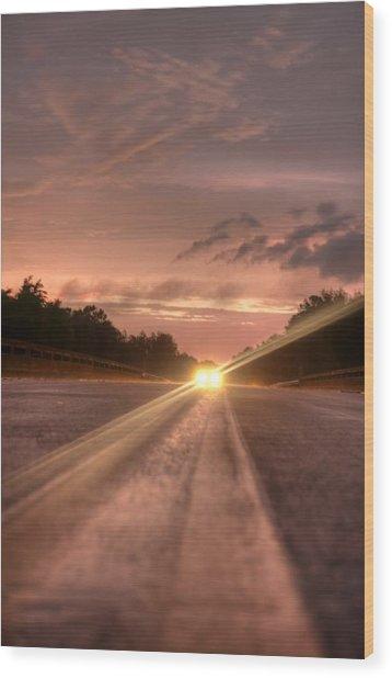 Sunset High Beams 2 Wood Print by David Paul Murray
