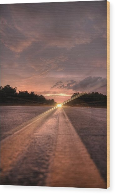 Sunset High Beams Wood Print by David Paul Murray