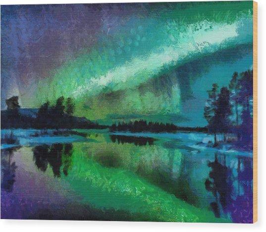 Sunset In Lapland Aurora Borealis Wood Print