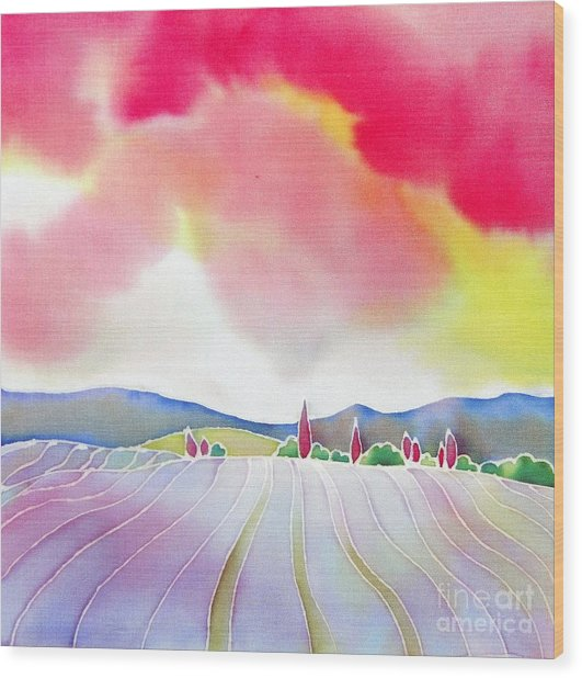 Sunset On The Lavender Farm Wood Print