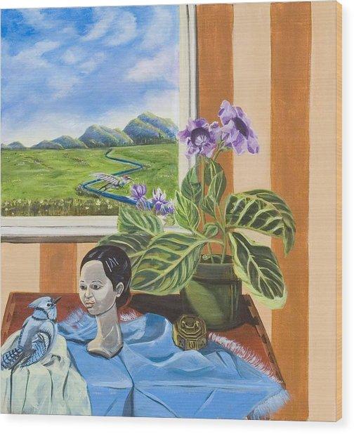 The Blue Jay Speaks Wood Print