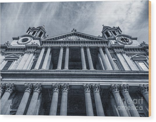 The Columns Of St Paul's Cathedral West Facade From Ludgate Hil Wood Print