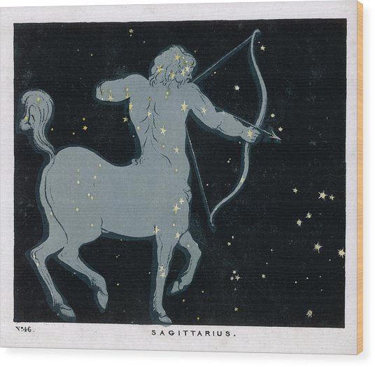 The Constellation Of  Sagittarius Wood Print by Mary Evans Picture Library
