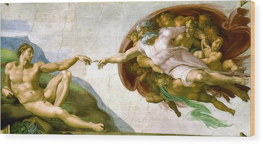 The Creation Of Adam Wood Print