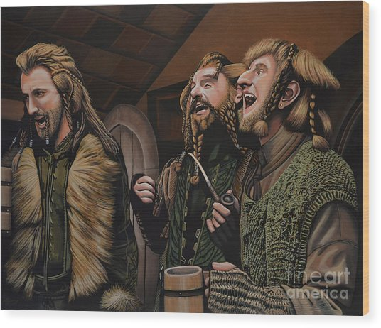 The Hobbit And The Dwarves Wood Print