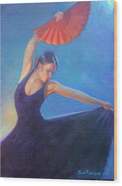 The Red Fan Wood Print by Gwen Carroll