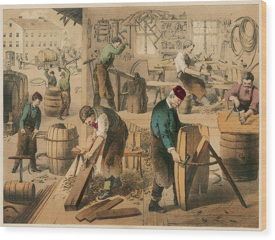 The Workshop Of A Cooper Or  Barrel Wood Print by Mary Evans Picture Library