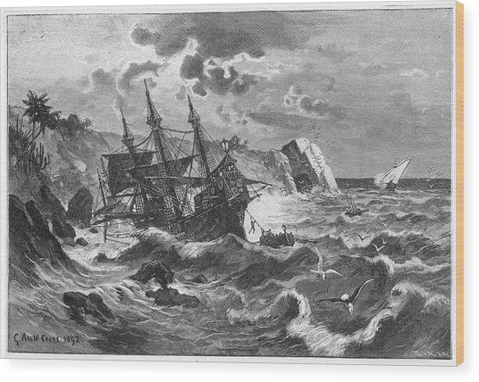 The Wreck Of The Caravel  'santa Wood Print by Mary Evans Picture Library