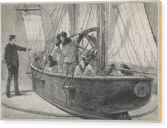 Training Naval Cadets On A  Swinging Wood Print by  Illustrated London News Ltd/Mar