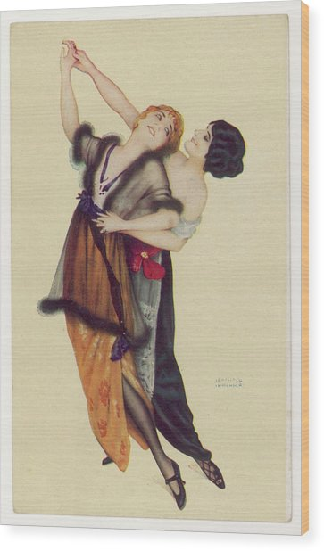 Two Stylishly Dressed Ladies  Dance Wood Print