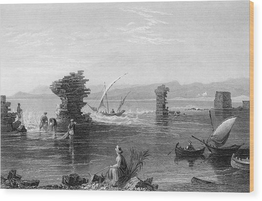 Tyre  Remains Of The Port        Date Wood Print