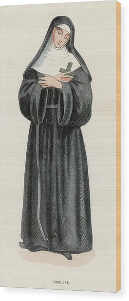Ursuline Nun Devoted To Saint Ursula Wood Print by Mary Evans Picture Library