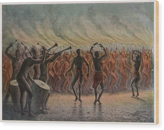 War Dance Of The Bari-neger Of Wood Print