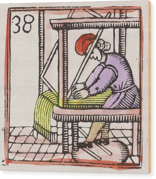Weaving On A Loom         Date 17th Wood Print by Mary Evans Picture Library