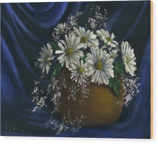 White Daisies In Blue Fabric Still Life Art Wood Print