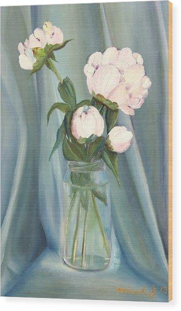 White Flower Purity Wood Print