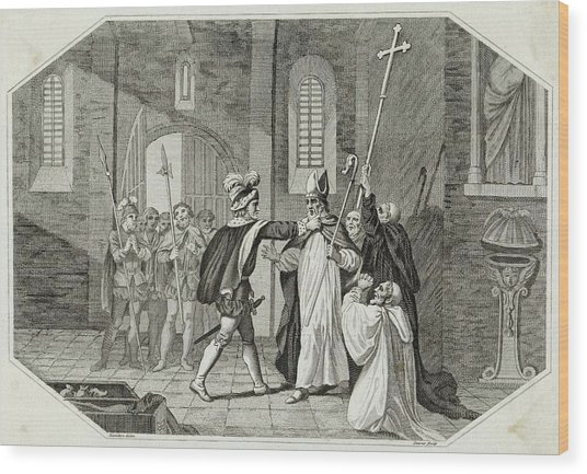 William I Arrests Odo, Bishop Wood Print by Mary Evans Picture Library