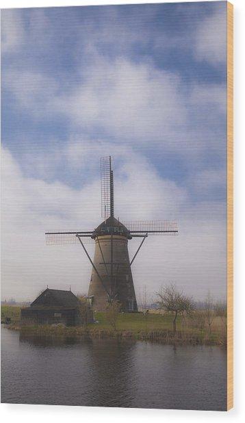 Windmill In Kinderdijk Netherlands Wood Print