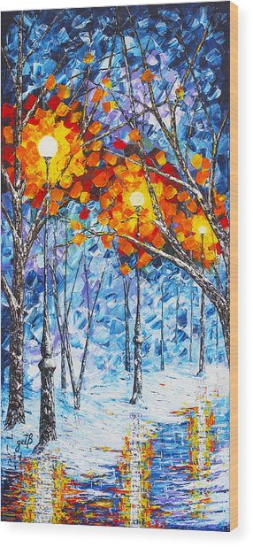 Silence Winter Night Light Reflections Original Palette Knife Painting Wood Print