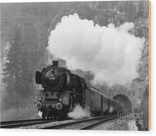 01 150 On Tracks In Franconia Wood Print by Joachim Kraus