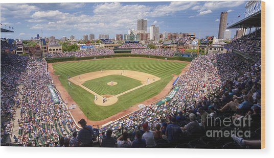 0100 Wrigley Field - Chicago Illinois Wood Print