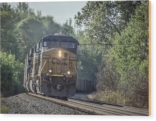05.07.14 Csx Coal Train At Nortonville Ky Wood Print by Jim Pearson