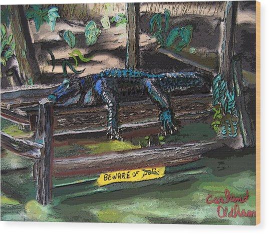 051607 Cajun Watch Dog Wood Print