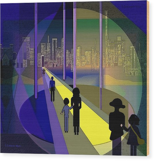 070 - Nightwalking To The Golden City    Wood Print by Irmgard Schoendorf Welch