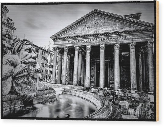 0786 The Pantheon Black And White Wood Print