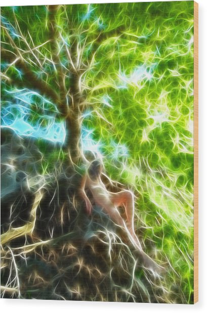 0789 Abstract Figure Energy Nude In Nature Under Tree Wood Print