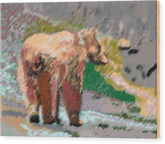 081914 Pastel Painting Grizzly Bear Wood Print