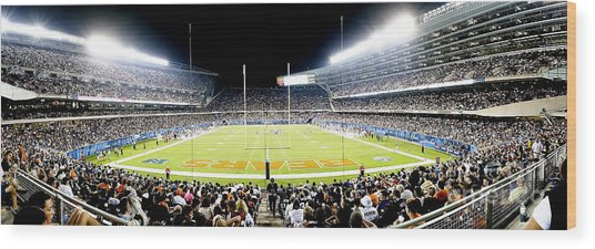 0856 Soldier Field Panoramic Wood Print