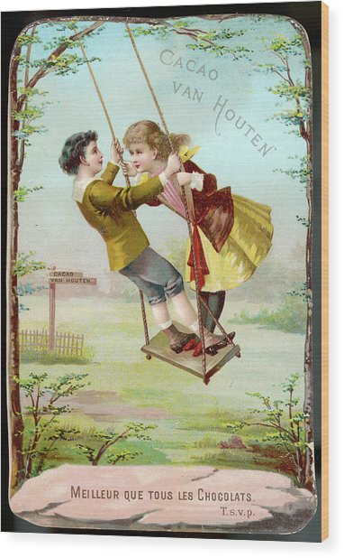 A Boy And A Girl Swing  Together Wood Print by Mary Evans Picture Library