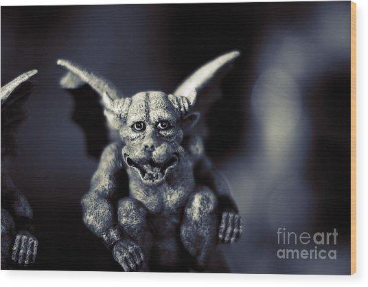 Evil Gargoyle Statue Wood Print