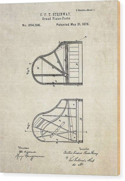 1878 Steinway Grand Piano Forte Patent Art S. 1 Wood Print