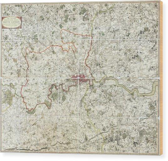 18th Century Map Of London Wood Print