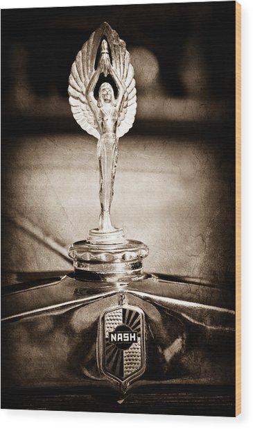 1928 Nash Coupe Hood Ornament Wood Print