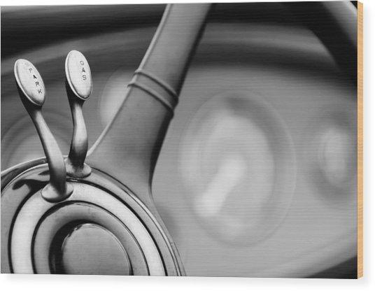 1931 Lincoln K Steering Wheel - Spark - Gas Controls  -1858bw Wood Print