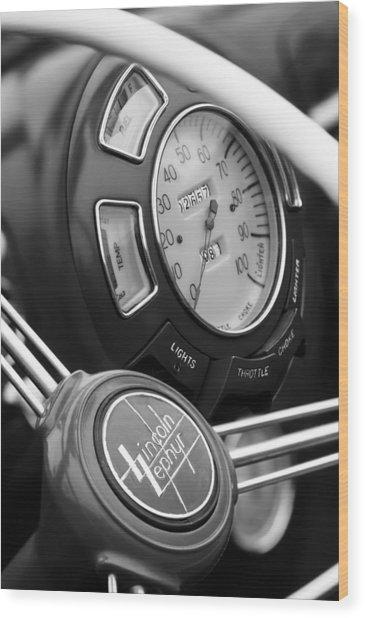 1940 Lincoln-zephyr Continental Cabriolet Steering Wheel Emblem Wood Print
