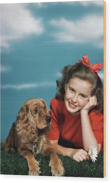 1940s 1950s Smiling Teen Girl Wood Print
