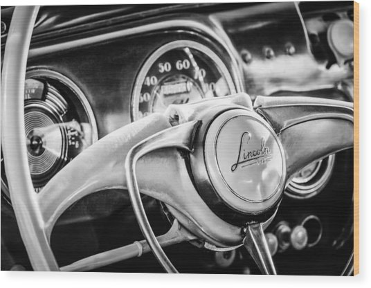 1941 Lincoln Continental Coupe Steering Wheel Emblem -0858c Wood Print
