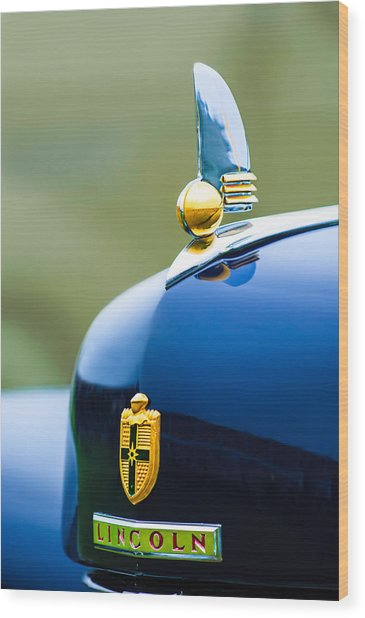 1942 Lincoln Continental Cabriolet Hood Ornament - Emblem Wood Print