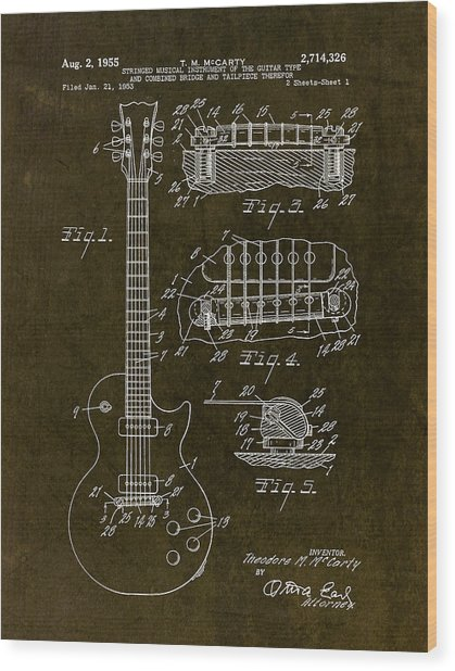 1955 Gibson Les Paul Patent Drawing Wood Print